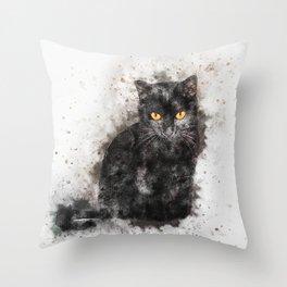 Black Cat Pet Art Throw Pillow