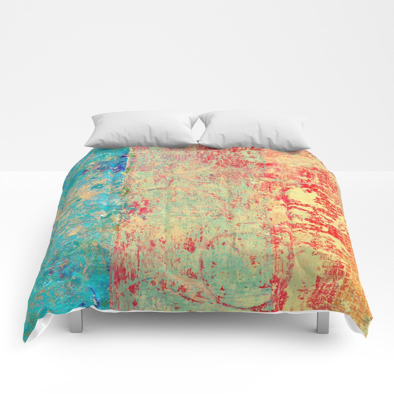 Brilliant Encounter, Abstract Art Turquoise Red Comforters
