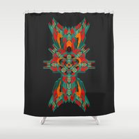 tatoo Shower Curtains featuring Calaabachti Dust Mite by Obvious Warrior