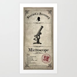 Sherlock Holmes Inventory - Microscope Art Print