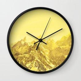 Mountains Yellow Wall Clock