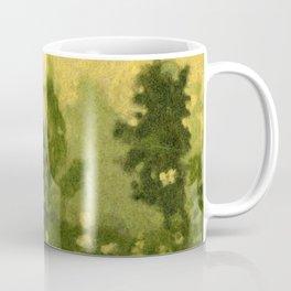 Summer Lawn, Fiber Felt Painting, Wool Texture, Yellow Green Coffee Mug