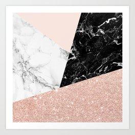 Black white marble blush pink rose gold glitter color block Kunstdrucke