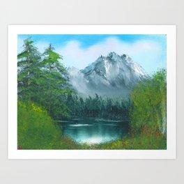 Lake by the mountain side Art Print