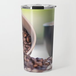 #Fresh #arabica #coffee #beans in #black #coffee #cups Travel Mug