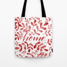 Watercolor home foliage – red Tote Bag