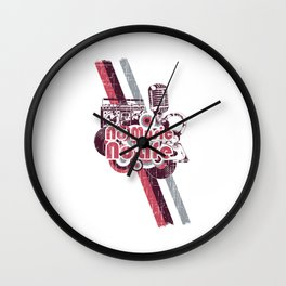 A microphone and grunges. No music no life Wall Clock