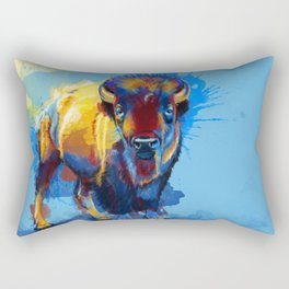 On the Plains - Bison painting Rectangular Pillow