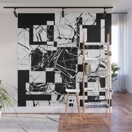 Manipulated Marble - Black and white, abstract, geometric, marble style art Wall Mural