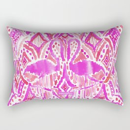 HEY FLAMINGO Pink Watercolor Tribal Rectangular Pillow