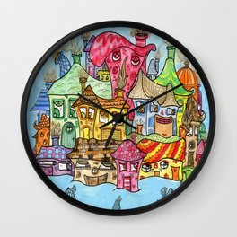 Suburbia USA Watercolor Wall Clock