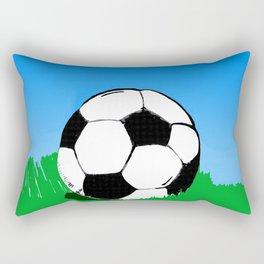 Soccer Ball In Grass Printmaking Art Rectangular Pillow