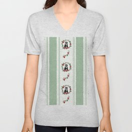"WallPaper ""Cat and Pomegranates"" Unisex V-Neck"