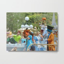 Peter Pan, Wendy, Alice and the Mad Hatter at Walt Disney World's Magic Kingdom Metal Print