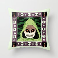 death Throw Pillows featuring Death  by Jack Teagle