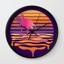 Retro striped sun and palm Wall Clock