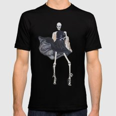 skeleton in leather & fur Mens Fitted Tee SMALL Black