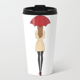 Fashion Girl Red Umbrella Red Bottom Heels Travel Mug