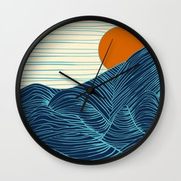 Strange Lands (dark blue / orange) Wall Clock