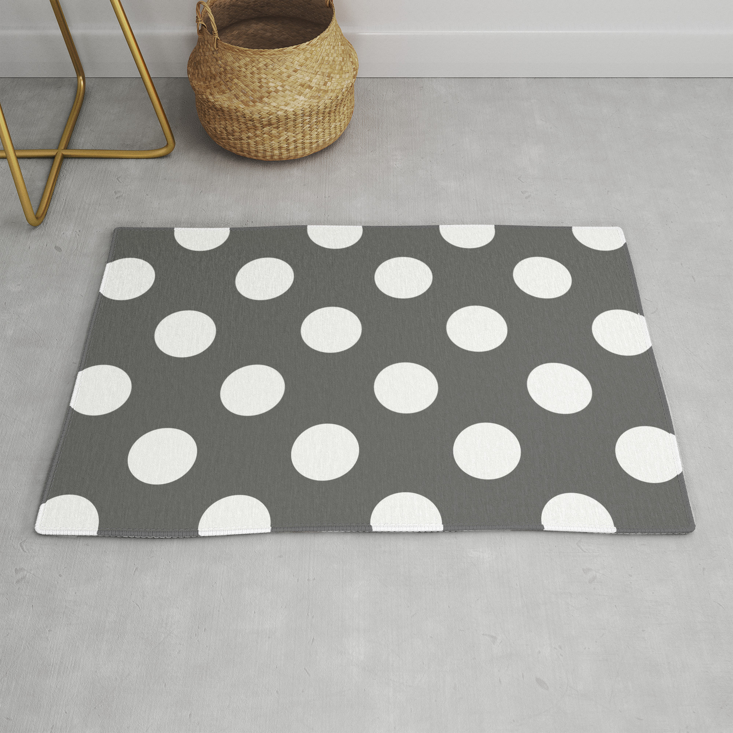 Picture of: Large Polka Dots White On Dark Gray Rug By Polkadotsshop Society6