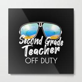 Second grade teacher off duty sunglasses beach Metal Print