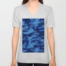 Blue Camouflage Military  Unisex V-Neck