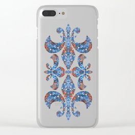 Blue and Red Glamour Stars Clear iPhone Case