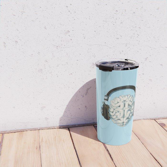 Mind Music Connection /3D render of human brain wearing headphones Travel Mug