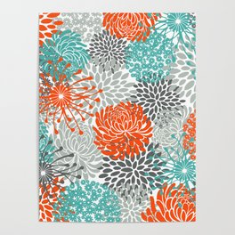 Orange and Teal Floral Abstract Print Poster