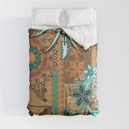 Hawaiian - Samoan - Polynesian gold and Teal Boar Tusk Print Comforters