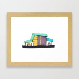 Retro Auto Shop Illustration 101 Framed Art Print