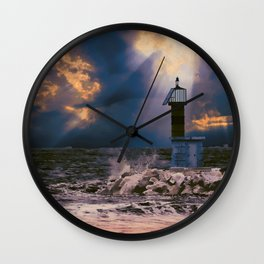 Light House in storm Wall Clock