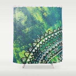 Green Dreams Mandala Shower Curtain