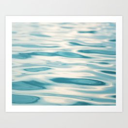Water Ripple Ocean Photography, Sea Ripples Aqua Blue, Turquoise Teal Beach Abstract Seascape Nature Art Print