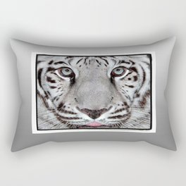 White Tiger with a little tougue Rectangular Pillow