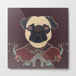 Hipster Pug Metal Print