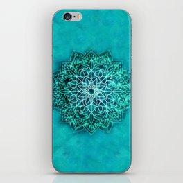 Elegant Turquoise Watercolor Mandala iPhone Skin