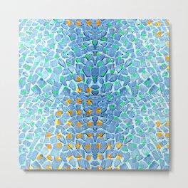 Street Floor Tiles Feeling Turquoise Tiger-Polka Dot...ish! Metal Print
