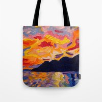 west coast Tote Bags featuring West Coast Sunset  by Morgan Ralston