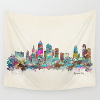 kansas Wall Tapestries featuring kansas city Missouri skyline by bri.buckley