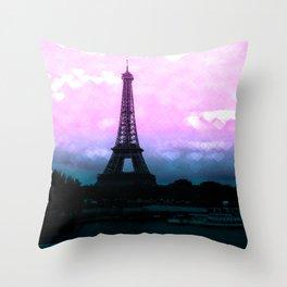 Paris Eiffel Tower : Lavender Teal Throw Pillow