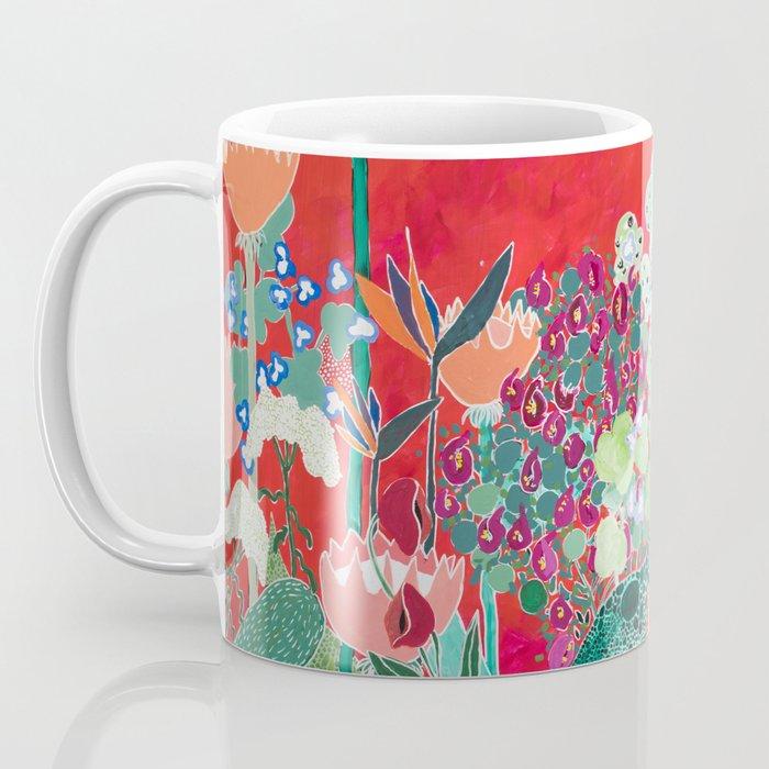Red floral Jungle Garden Botanical featuring Proteas, Reeds, Eucalyptus, Ferns and Birds of Paradise Coffee Mug