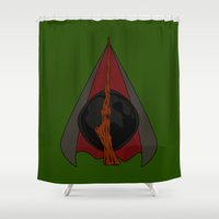 deathly hallows Shower Curtains featuring Deathly Hallows by Nana Leonti