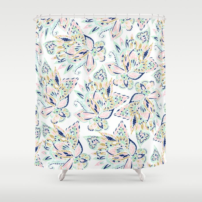 Modern Pastel Pink Watercolor Gold Floral Hand Drawn Paisley Shower Curtain By Girlytrend