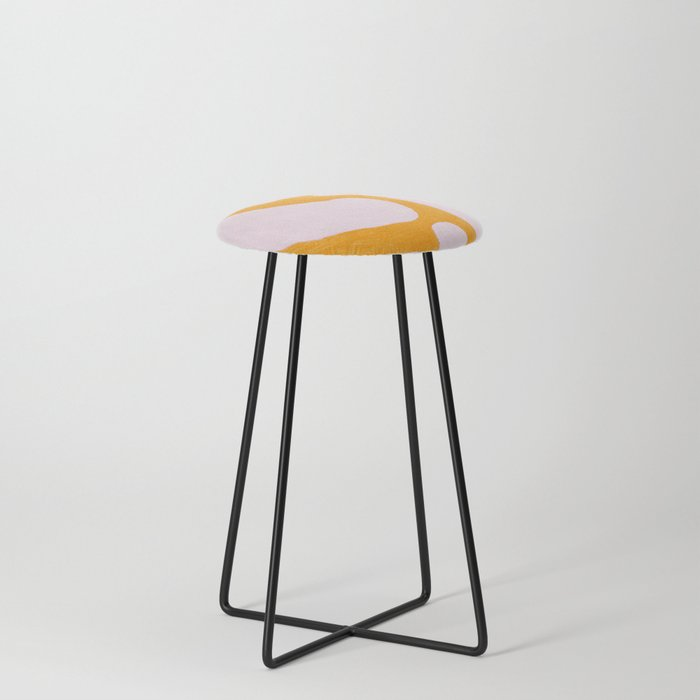 Abstract in Yellow and Cream Counter Stool