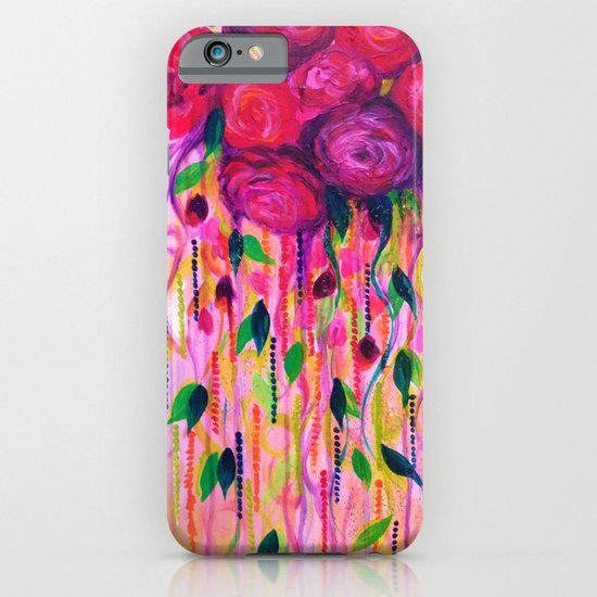 ROSES ARE RAD 2- Bold Pink Red Roses Floral Bouquet Vines, Flower Abstract Acrylic Painting Fine Art iPhone & iPod Case