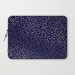 Gold Berry Branches on Navy Laptop Sleeve