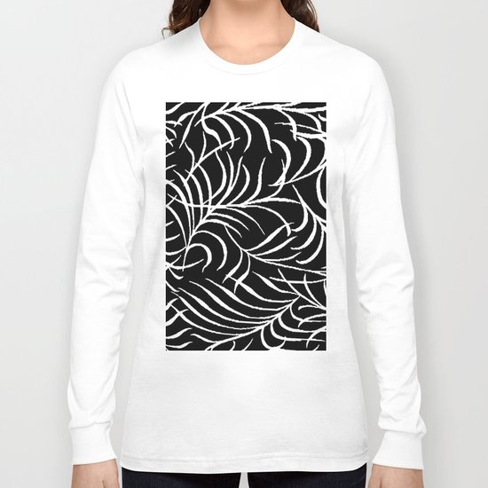 BLACK AND WHITE LEAF PALM Long Sleeve T-shirt