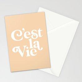 C'EST LA VIE pastel peach and white Stationery Cards