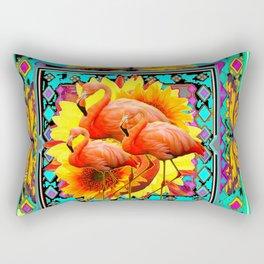 Ornate Yellow Art Flamingos Turquoise-Blue Design Rectangular Pillow